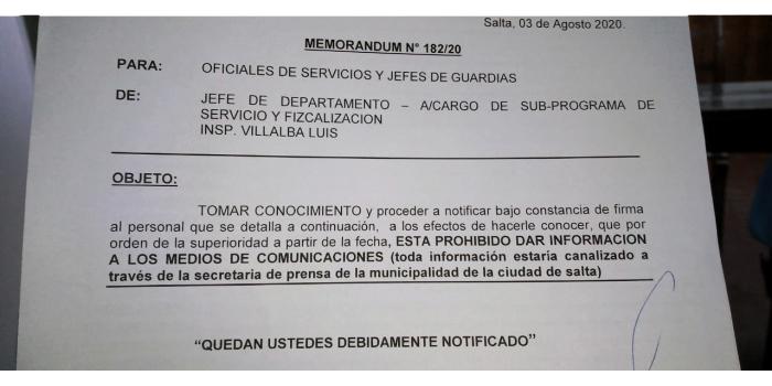 """En Tránsito, vía memorándum les prohibieron """"dar información..."""